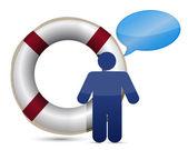 Sos lifesaver message icon — Stock Photo