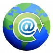 Att mail sign over globe — Stock Photo