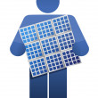 Icon holding a solar panel - Stock Photo