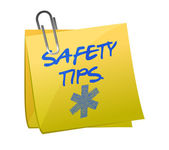 Safety tips post it sign — Stock Photo