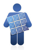 Icon holding a solar panel — Stock Photo