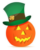 Halloween dynia i saint patricks kapelusz — Zdjęcie stockowe