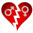 Male and female heart — Stock Photo