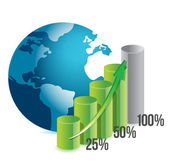 Percentage graph and globe — Stock Photo