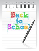 Zurück zu schule und notizblock — Stockfoto