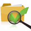 folder and checkmark magnifier — Stock Photo