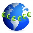 Stock Photo: Euro signs all around a globe