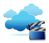 Computação em nuvem de armazenamento de mídia — Foto Stock