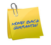 Money back guarantee post it — Stock Photo