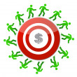Running around a dollar target — Stock Photo #15710169