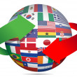 Flag globe and arrows — Stock Photo