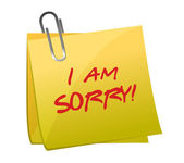 I am sorry message on a post it — Stock Photo