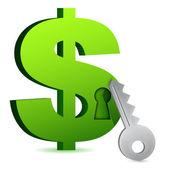Dolar zamek i klucz — Zdjęcie stockowe