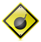 Bomb ahead sign — Stockfoto