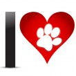 I Love Text With Red Heart And Paw Print — Stock Photo #16701091