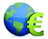 Euro currency around the globe — Stock Photo