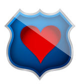 Illustration of a heart symbol on a shield icon — Stock Photo