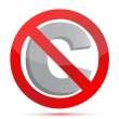 Sign showing that copying is forbidden — Stock Photo