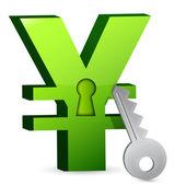 Chiave e serratura yen — Foto Stock