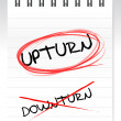 Upturn, crossed out word downturn — Stock Photo #16930393