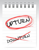 Upturn, crossed out the word downturn — Stock Photo