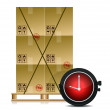 Pallet and some cartons with a stopwatch illustration design — Stock Photo