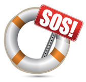 Life Buoy with SOS sign — Stock Photo