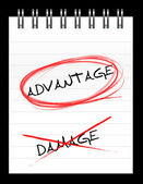 Chose the word ADVANTAGE over DAMAGE — Stock Photo