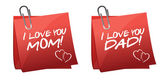 Father and mother day greetings on a paper notes — Stock Photo