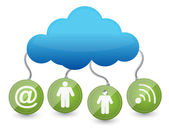 Icons around the cloud network — Stock Photo