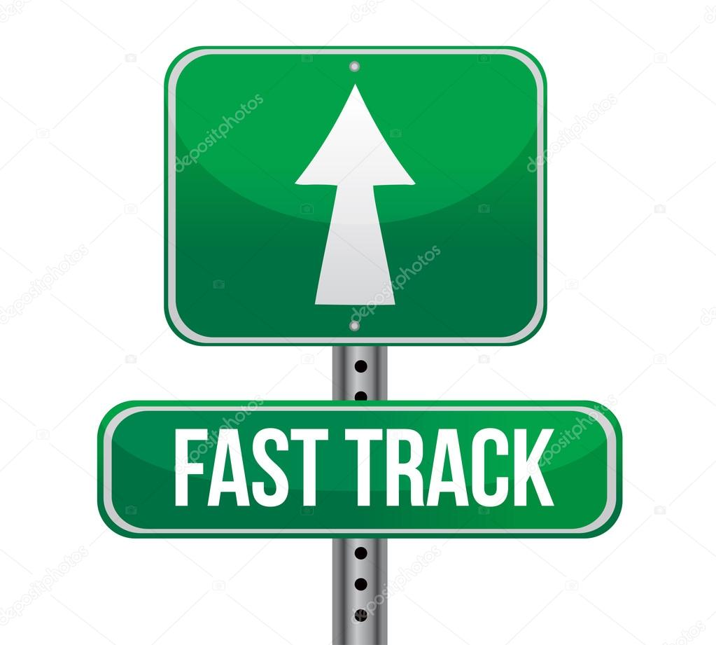 Roadsign with a fast track concept — Stock Photo ...