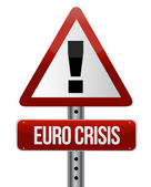 Road traffic sign with a Euro crisis concept — Stock Photo