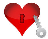Red heart and key — Stock Photo