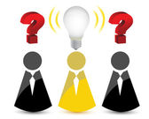 Question marks and a light bulb idea — Stock Photo