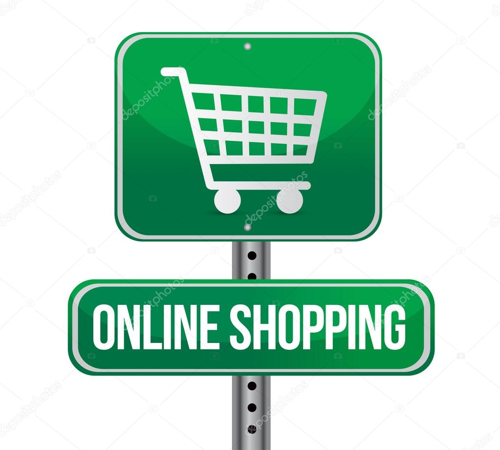 Road traffic sign with an online shopping — Stock Photo ...