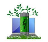 Cuaderno y energía verde — Foto de Stock