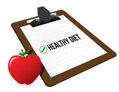 "Clipboard with marked checkbox ""Diet"" and apple — Stock Photo"