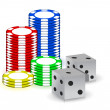 Poker gambling chips and set of dimes — Stock Photo