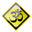 Om yellow road sign — Stock Photo