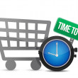 Time to Shop and shopping cart — Stock Photo