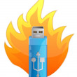Blue USB Flash Drive in Fire — Stock Photo