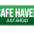 Safe Haven Green Road Sign — Stock Photo #18229311