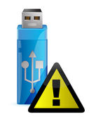 Vector USB Flash drive with WARNING sign — Stock Photo