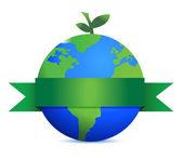 葉で地球のような緑の果実 — ストック写真
