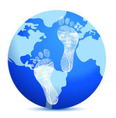 Earth with footprints — Stock Photo