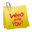 Royalty-Free Stock Photo: Who Are You post it