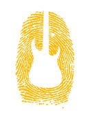 Thumbprint with a guitar icon on it — Stock Photo