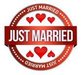Just Married stamp print — Stock Photo