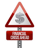 Warning road sign with a financial crisis concept — Stock Photo