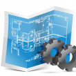 Stock Photo: Gears blueprint graphic
